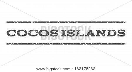 Cocos Islands watermark stamp. Text caption between horizontal parallel lines with grunge design style. Rubber seal stamp with scratched texture. Vector gray color ink imprint on a white background.