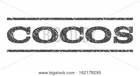 Cocos watermark stamp. Text caption between horizontal parallel lines with grunge design style. Rubber seal stamp with scratched texture. Vector gray color ink imprint on a white background.