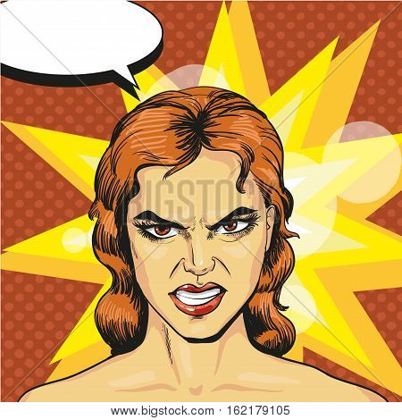 Vector illustration of angry, infuriated woman in retro pop art comic style. Negative emotions.