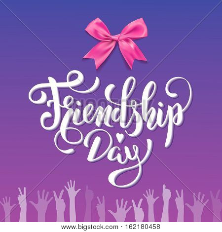 Vector Friendship Day hand lettering inscription on purple background with children hands and bowtie. Web design, poster, print, advertisement element.