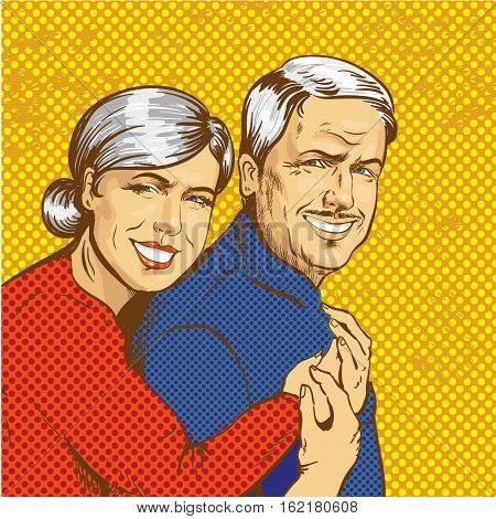 Vector illustration of smiling mature couple in retro pop art comic style. Happy family concept.