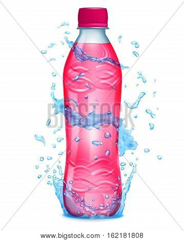 Water Splashes In Blue Colors Around A Plastic Bottle With Pink Juice