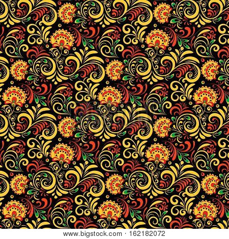 Vector Russian Ethnic ornament .Khokhloma painting seamless pattern , decoration objects in Russian style, Elements for poster, banner, print, logo, advertisement design.