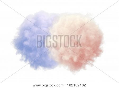 Two colored fluffy things isolated on white backround 3d render