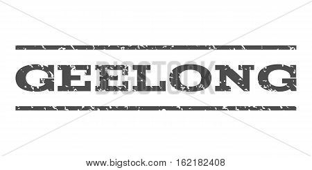Geelong watermark stamp. Text caption between horizontal parallel lines with grunge design style. Rubber seal stamp with dirty texture. Vector gray color ink imprint on a white background.