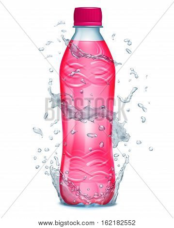 Water Splashes In Gray Colors Around A Plastic Bottle With Pink Juice