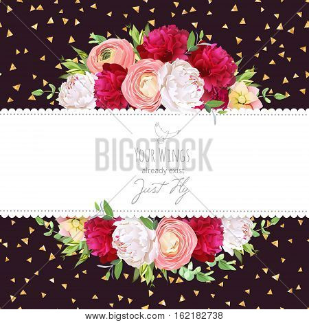 Celebration vector horizontal card with golden glitter dark background. White and burgundy red peony pink roses ranunculus flowers green plants. All elements are isolated and editable