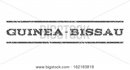 Guinea-Bissau watermark stamp. Text tag between horizontal parallel lines with grunge design style. Rubber seal stamp with dust texture. Vector gray color ink imprint on a white background.