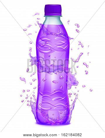 Water Splashes In Purple Colors Around A Plastic Bottle With Purple Juice