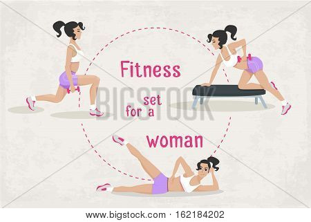Vector Set of fitness workout exercises for a woman. illustration of realistic woman in sport gym. Web design, poster, banner, print element.