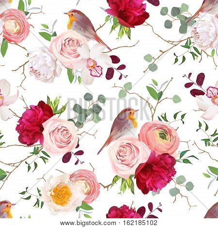 Natural vector seamless pattern with cute robin birds and bouquets of peachy roses white and burgundy red peony orchid eucalyptus green plants mix and ranunculus in japanese style