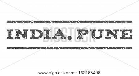 India, Pune watermark stamp. Text tag between horizontal parallel lines with grunge design style. Rubber seal stamp with dust texture. Vector gray color ink imprint on a white background.
