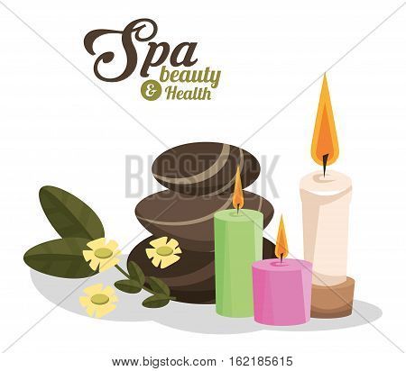 spa beauty and health hot stones scented candles vector illustration