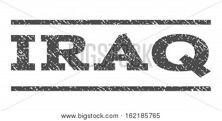 Iraq watermark stamp. Text tag between horizontal parallel lines with grunge design style. Rubber seal stamp with dirty texture. Vector gray color ink imprint on a white background.