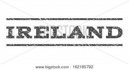 Ireland watermark stamp. Text tag between horizontal parallel lines with grunge design style. Rubber seal stamp with dirty texture. Vector gray color ink imprint on a white background.