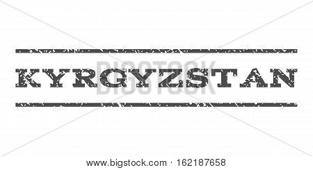 Kyrgyzstan watermark stamp. Text caption between horizontal parallel lines with grunge design style. Rubber seal stamp with dust texture. Vector gray color ink imprint on a white background.
