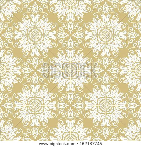 Seamless classic vector pattern. Traditional orient ornament. Classic vintage golden and white background