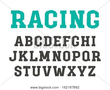 Slab serif font in the style of handmade graphics. Isolated on white background
