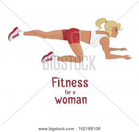 Vector girl in red does buttocks lift exercises . Flat, cartoon style woman working out her buttocks muscle. fitness, active lifestyle illustration. Print banner poster design element