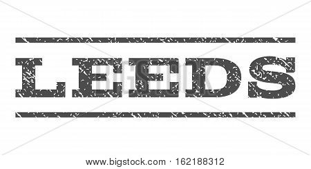 Leeds watermark stamp. Text tag between horizontal parallel lines with grunge design style. Rubber seal stamp with dirty texture. Vector gray color ink imprint on a white background.
