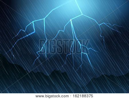 Lightning and rain blue background. Nature thunder flash vector illustration