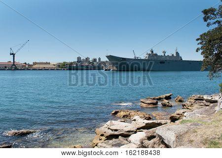 Australian royal navy in fleet base east Sydney, HMAS Adelaide, october 2016