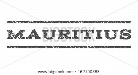Mauritius watermark stamp. Text tag between horizontal parallel lines with grunge design style. Rubber seal stamp with dirty texture. Vector gray color ink imprint on a white background.