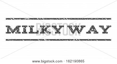Milky Way watermark stamp. Text caption between horizontal parallel lines with grunge design style. Rubber seal stamp with unclean texture. Vector gray color ink imprint on a white background.
