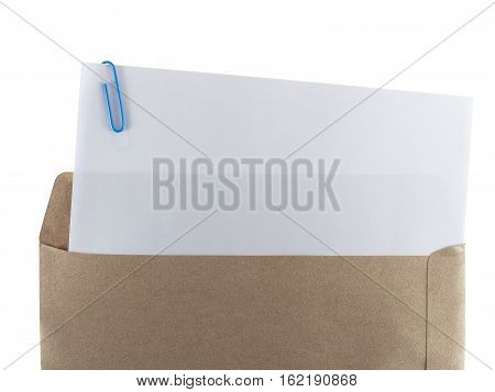 white paper with paperclip in brown envelope isolated on white background, blank document