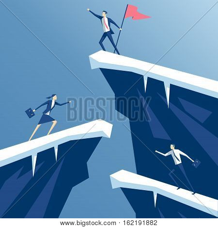 businessman first reached the summit of the mountain with a flag business people competing in mountain climbing. employees run on the rocks to the flag business concept win and competition