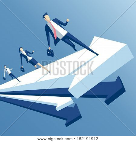 businessmen run up arrow business people staged a race on the arrow a business concept team work and growth