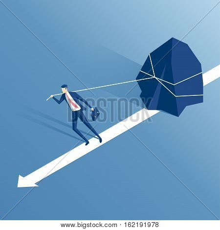 businessman pulling a big stone or rock isometric vector illustration business concept of hardship and burden