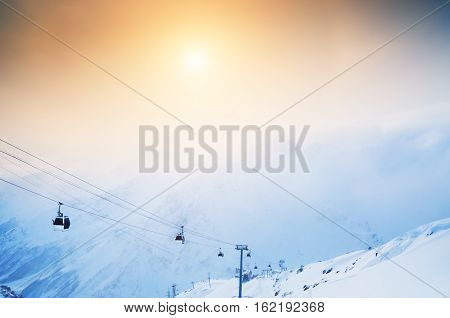 Cable Car On The Ski Resort Elbrus.