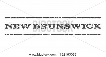 New Brunswick watermark stamp. Text tag between horizontal parallel lines with grunge design style. Rubber seal stamp with unclean texture. Vector gray color ink imprint on a white background.