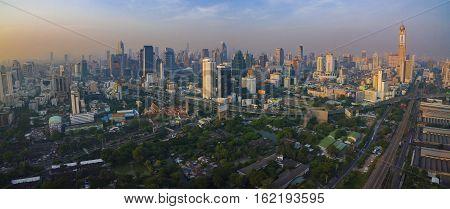 BANGKOK THAILAND - DECEMBER 11 : aerial view of skyscraper in heart of bangkok on december 11 2016 in bangkok thailand