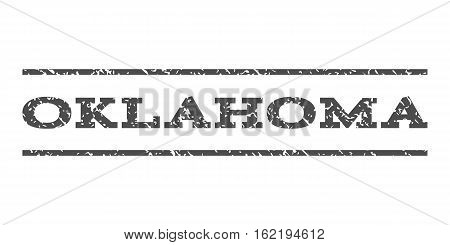 Oklahoma watermark stamp. Text caption between horizontal parallel lines with grunge design style. Rubber seal stamp with scratched texture. Vector gray color ink imprint on a white background.