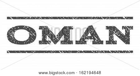 Oman watermark stamp. Text caption between horizontal parallel lines with grunge design style. Rubber seal stamp with dust texture. Vector gray color ink imprint on a white background.
