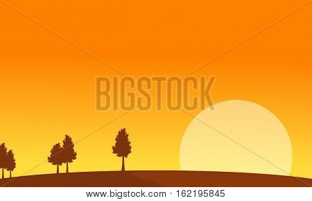 At sunrise scenery with tree backgrounds vector art