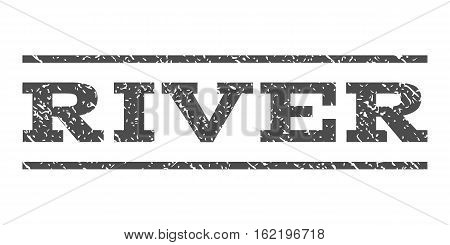 River watermark stamp. Text caption between horizontal parallel lines with grunge design style. Rubber seal stamp with dust texture. Vector gray color ink imprint on a white background.