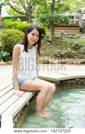 Woman enjoy hotsprings