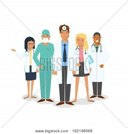 Doctors and surgeons set. Set of medical workers isolated on white background. Men and women doctors. Team of doctors stand together.