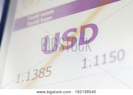 finance, currency and money concept - digital display with dollar exchange rate on screen