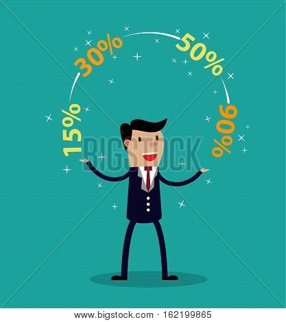 Promotions discounts sale. Businessman juggling discounts sale. Business concept trade. vector illustration in flat style
