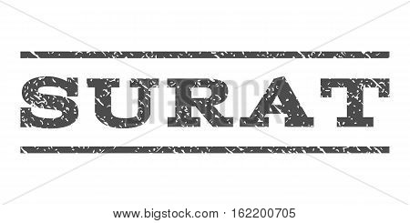 Surat watermark stamp. Text caption between horizontal parallel lines with grunge design style. Rubber seal stamp with dirty texture. Vector gray color ink imprint on a white background.