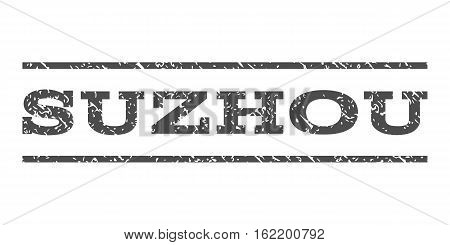 Suzhou watermark stamp. Text caption between horizontal parallel lines with grunge design style. Rubber seal stamp with scratched texture. Vector gray color ink imprint on a white background.