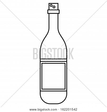 wine bottle with cork empty label outline vector illustration eps 10