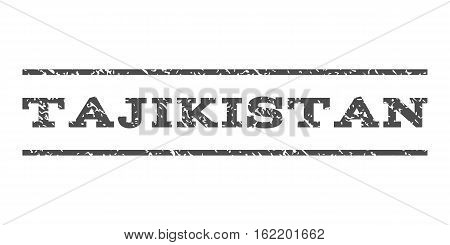 Tajikistan watermark stamp. Text tag between horizontal parallel lines with grunge design style. Rubber seal stamp with unclean texture. Vector gray color ink imprint on a white background.
