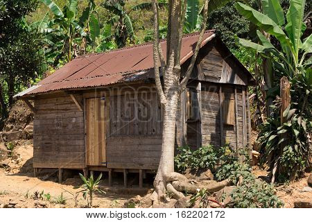 Traditional african malagasy huts in Andasibe region typical village in Madagascar Toamasina Province.