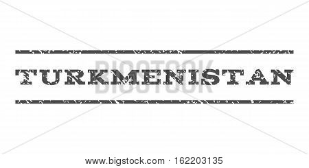 Turkmenistan watermark stamp. Text tag between horizontal parallel lines with grunge design style. Rubber seal stamp with scratched texture. Vector gray color ink imprint on a white background.