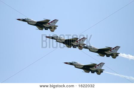 A fighter formation at an air show poster